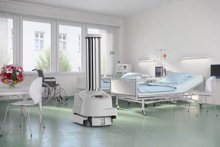 """UVD Robot"" by Blue Ocean Robotics drives autonomously and eliminates bacteria and other harmful microorganisms in hospitals © Blue Ocean Robotics"