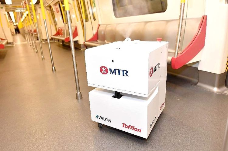 Robot disinfecting the Hong Kong metro © MTR Corporation