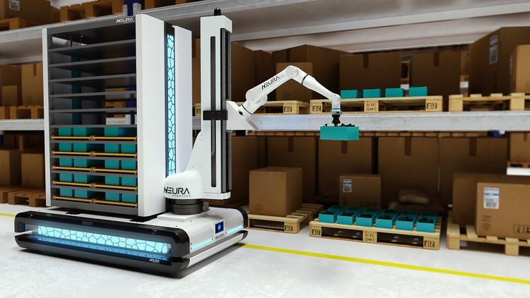 LARA (Lightweight Agile robotic assistant) mounted on MAV (Multi-Sensing Autonomous vehicle) palletizing products © NEURA Robotics GmbH